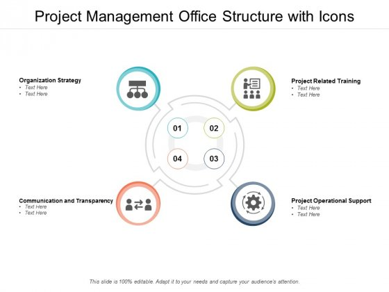 Project Management Office Structure With Icons Ppt PowerPoint Presentation Summary Layouts