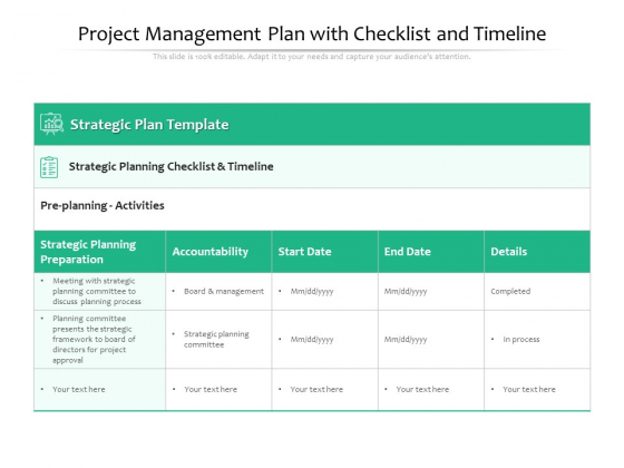Project Management Plan With Checklist And Timeline Ppt PowerPoint Presentation File Example PDF