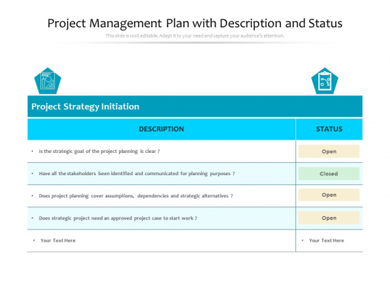 Project Management Plan With Description And Status Ppt PowerPoint Presentation Icon Model PDF