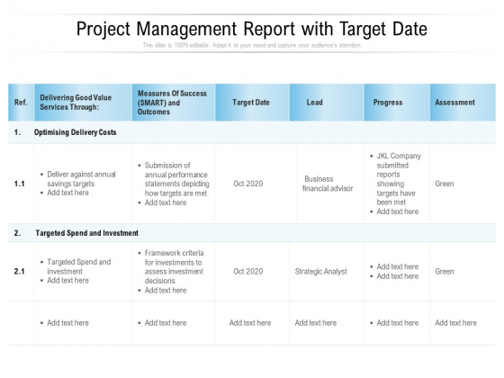 Project Management Report With Target Date Ppt PowerPoint Presentation Infographics Mockup PDF