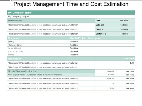 Project Management Time And Cost Estimation Ppt PowerPoint Presentation Infographic Template Microsoft