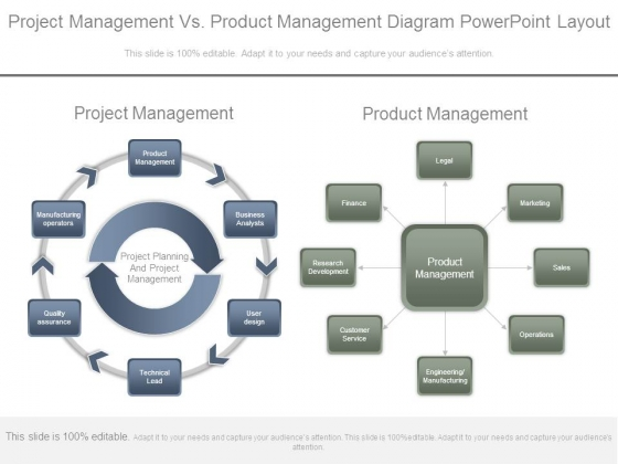 Project Management Vs Product Management Diagram Powerpoint Layout