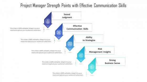 Project Manager Strength Points With Effective Communication Skills Ppt PowerPoint Presentation Gallery Clipart Images PDF