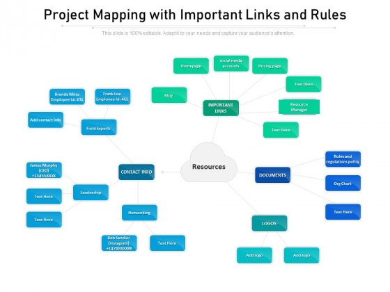Project Mapping With Important Links And Rules Ppt PowerPoint Presentation Diagram Templates PDF