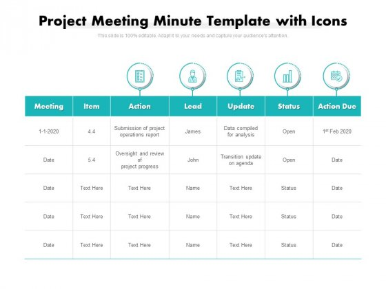 Project Meeting Minute Template With Icons Ppt PowerPoint Presentation Ideas Diagrams