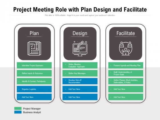 Project Meeting Role With Plan Design And Facilitate Ppt PowerPoint Presentation Gallery Graphics Download PDF