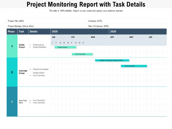 Project Monitoring Report With Task Details Ppt PowerPoint Presentation File Templates PDF