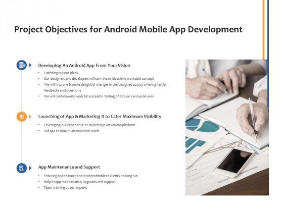 Project Objectives For Android Mobile App Development Ppt PowerPoint Presentation Summary Visuals
