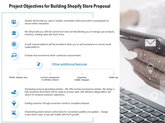 Project Objectives For Building Shopify Store Proposal Ppt PowerPoint Presentation Portfolio Good