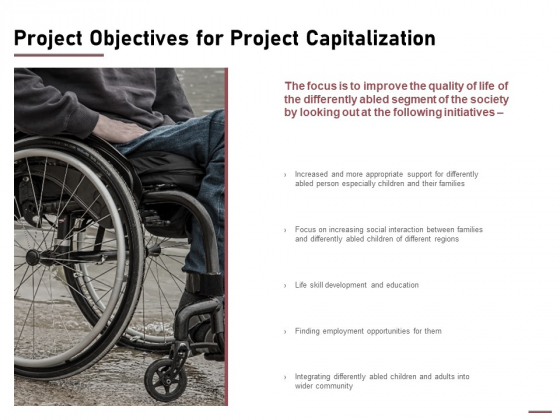 Project Objectives For Project Capitalization Ppt Icon Styles PDF