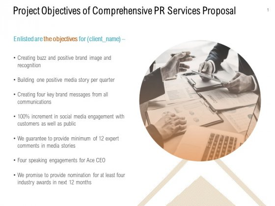 Project Objectives Of Comprehensive PR Services Proposal Ppt PowerPoint Presentation Ideas Outfit