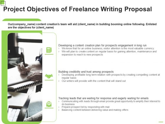 Project Objectives Of Freelance Writing Proposal Ppt Gallery Clipart PDF
