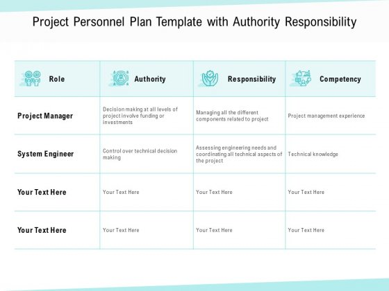 Project Personnel Plan Template With Authority Responsibility Ppt PowerPoint Presentation Gallery