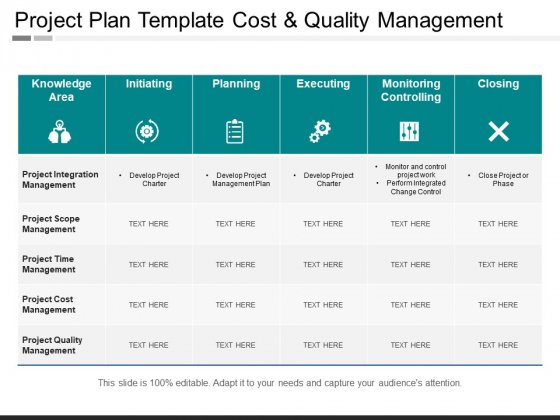 Project Plan Template Cost And Quality Management Ppt PowerPoint Presentation Infographic Template Model