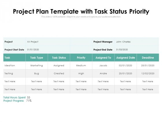 Project Plan Template With Task Status Priority Ppt PowerPoint Presentation Ideas Outline