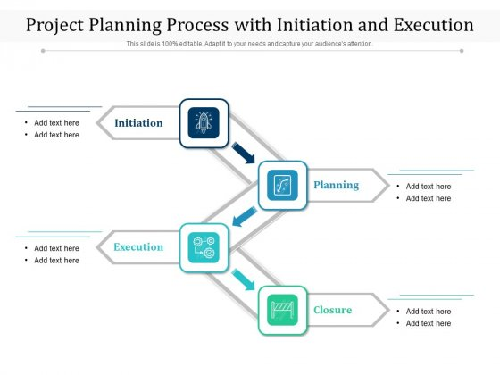 Project Planning Process With Initiation And Execution Ppt PowerPoint Presentation Icon Designs PDF