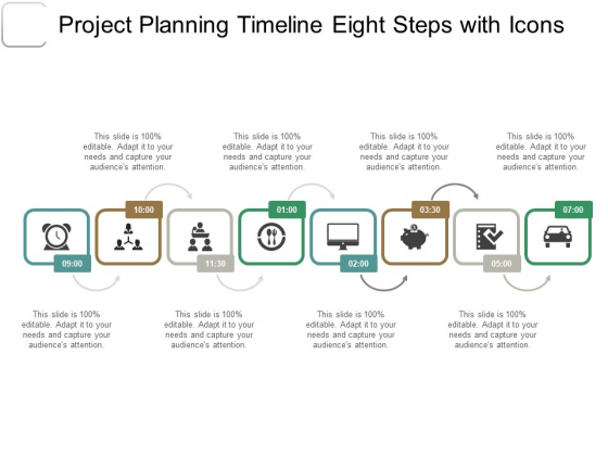 Project Planning Timeline Eight Steps With Icons Ppt PowerPoint Presentation Inspiration Graphic Tips