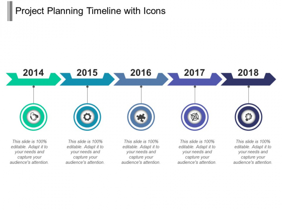 Project Planning Timeline With Icons Ppt PowerPoint Presentation Infographics Model