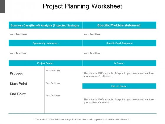 project planning worksheet ppt powerpoint presentation model