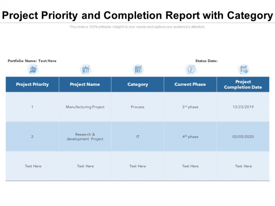 Project Priority And Completion Report With Category Ppt PowerPoint Presentation Background Designs PDF