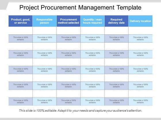 Project Procurement Management Template Ppt PowerPoint Presentation Summary Deck