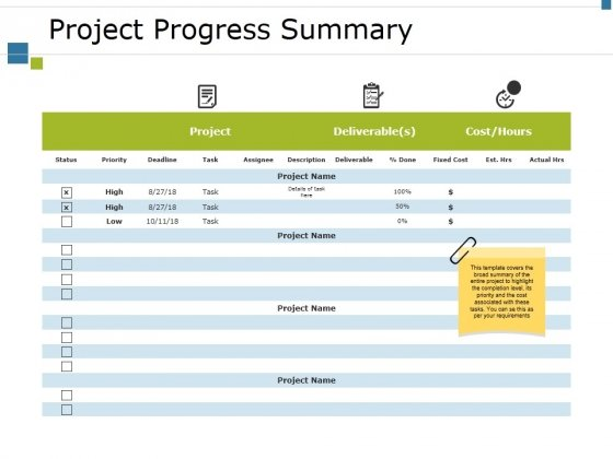 Project Progress Summary Ppt PowerPoint Presentation Ideas Graphics Design