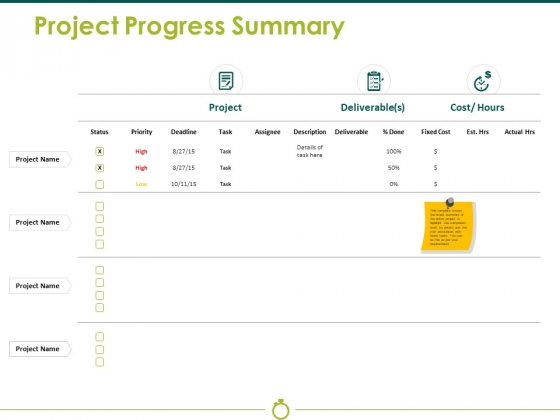 Project Progress Summary Ppt PowerPoint Presentation Infographic Template Brochure