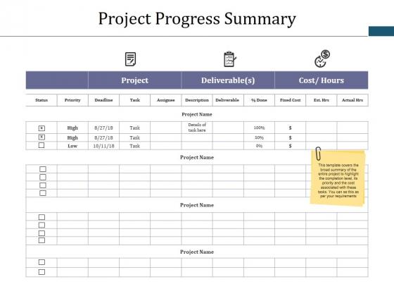 Project Progress Summary Ppt PowerPoint Presentation Portfolio Graphic Tips