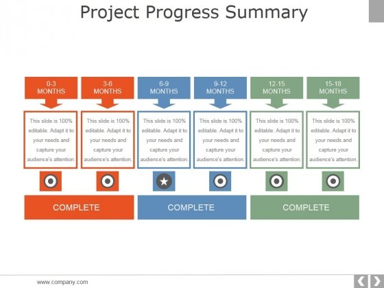 project progress summary template 2 ppt powerpoint presentation