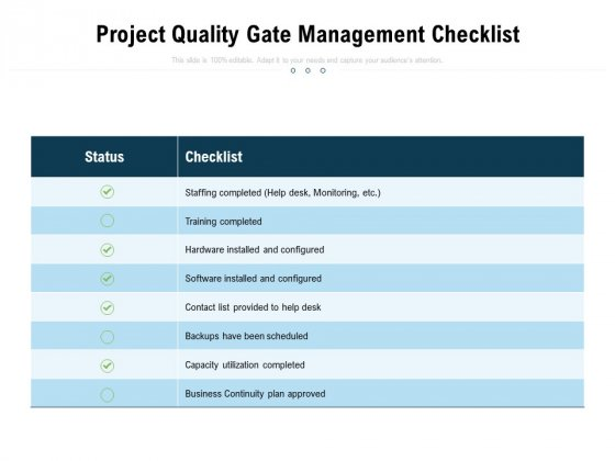 Project Quality Gate Management Checklist Ppt PowerPoint Presentation Infographics Graphics Example PDF