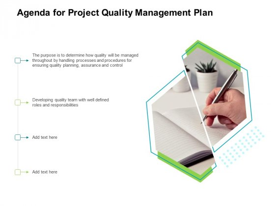 Project Quality Management Plan Agenda For Project Quality Management Plan Background PDF