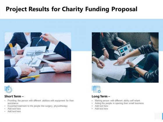 Project Results For Charity Funding Proposal Ppt PowerPoint Presentation Ideas Show
