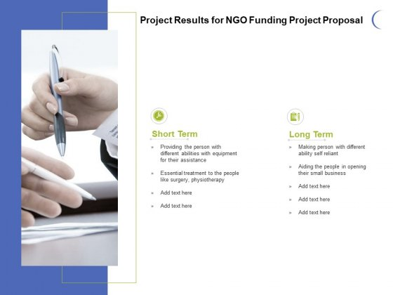 Project Results For NGO Funding Project Proposal Ppt PowerPoint Presentation Professional Information