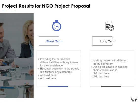 Project Results For Ngo Project Proposal Ppt Powerpoint Presentation Model Icon