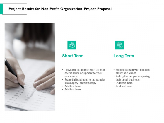 Project Results For Non Profit Organization Project Proposal Ppt PowerPoint Presentation Example