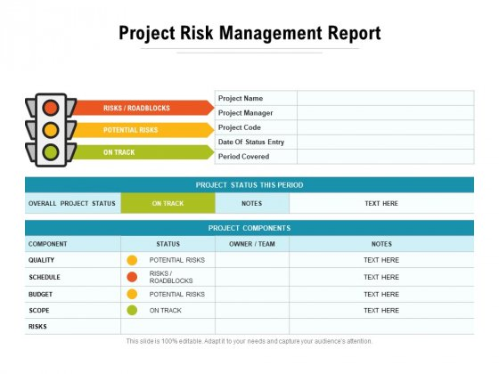 Project Risk Management Report Ppt PowerPoint Presentation Icon Sample PDF