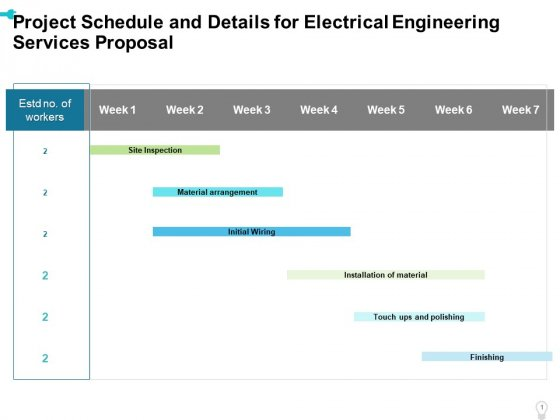 Project Schedule And Details For Electrical Engineering Services Proposal Ppt Styles Mockup PDF