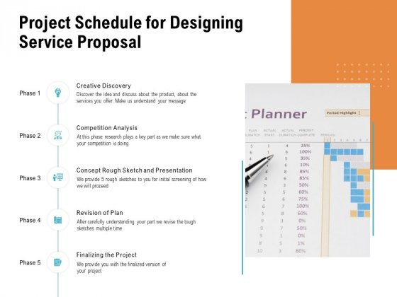 Project Schedule For Designing Service Proposal Ppt PowerPoint Presentation Summary Styles