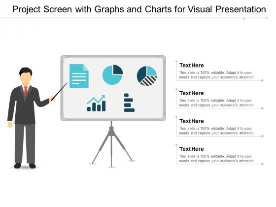Project Screen With Graphs And Charts For Visual Presentation Ppt PowerPoint Presentation Gallery Design Inspiration
