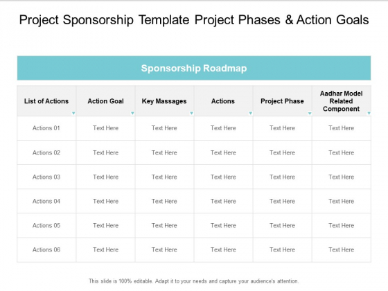Project Sponsorship Template Project Phases And Action Goals Ppt PowerPoint Presentation Icon Infographic Template