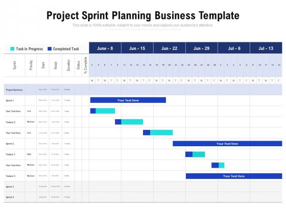 Project Sprint Planning Business Template Ppt PowerPoint Presentation Styles Graphic Tips PDF