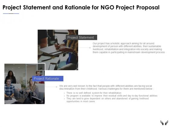 Project Statement And Rationale For Ngo Project Proposal Ppt Powerpoint Presentation Professional Graphic Tips
