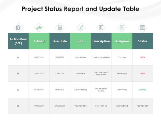Project_Status_Report_And_Update_Table_Ppt_PowerPoint_Presentation_File_Show_PDF_Slide_1