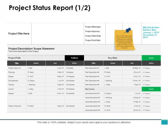 Project_Status_Report_Planning_Business_Ppt_PowerPoint_Presentation_Inspiration_Structure_Slide_1