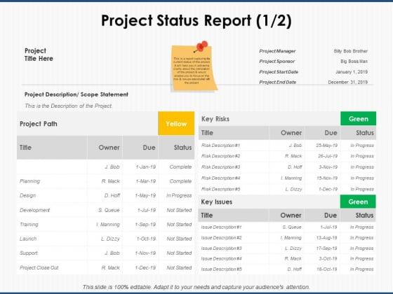 Project_Status_Report_Planning_Ppt_PowerPoint_Presentation_Portfolio_Portrait_Slide_1