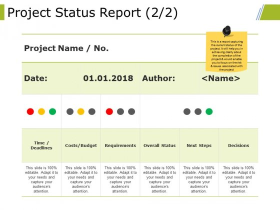 Project Status Report Template 2 Ppt PowerPoint Presentation Model Graphics