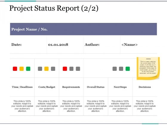 Project Status Report Template 2 Ppt Point Presentation Styles Samples Slide 1