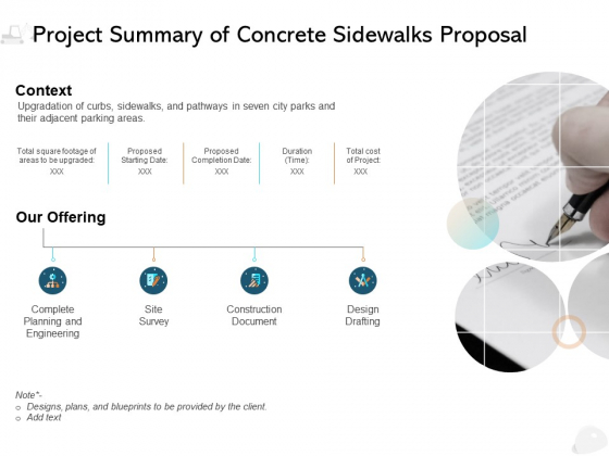 Project Summary Of Concrete Sidewalks Proposal Ppt PowerPoint Presentation Icon Background Image