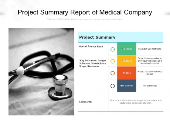 Project Summary Report Of Medical Company Ppt PowerPoint Presentation Professional Samples PDF