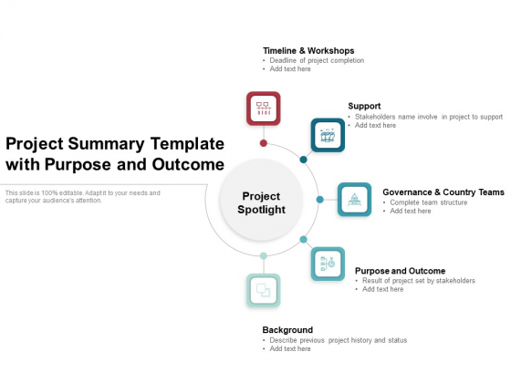Project Summary Template With Purpose And Outcome Ppt PowerPoint Presentation Show Layouts PDF